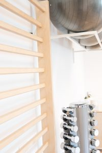 Fysio Evident - Praktijkruimte - wandrek - gewichten - bal - fysiotherapie